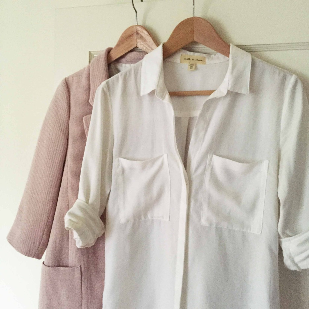 pink jacket and white buttondown
